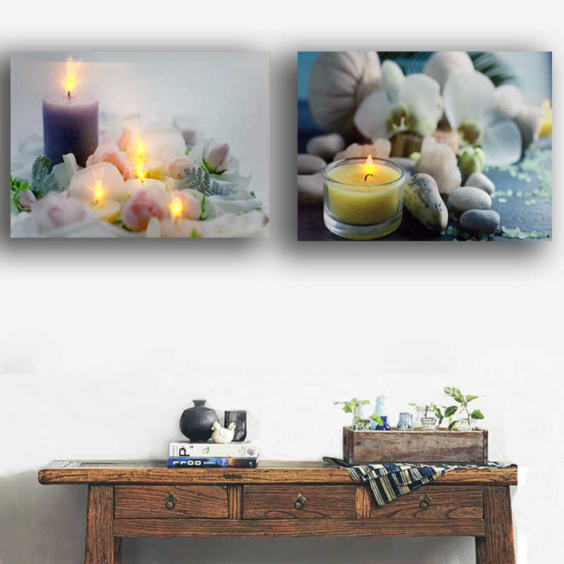 Led canvas art Relaxing spa zen stones wellness candles Orchid Flowers wall art picture light up painting framed print decor