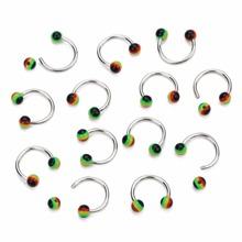 Louleur Colorful 10Pcs Stainless Steel Fake Lip Ring Clip Nose lip Piercing Falso Rings Hoop for Women Body Jewelry