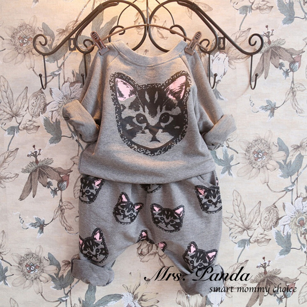 Retail 2016 Spring style Infant clothes Clothing sets Cotton Cute Cat 2pcs(Full Sleeve + Pants) Baby girl clothes Free Shipping