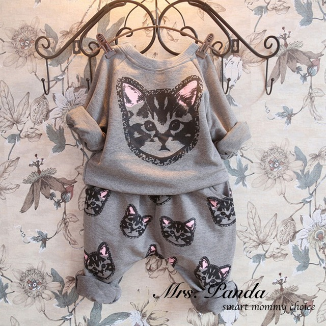 Retail 2017 Spring style Infant clothes Clothing sets Cotton Cute Cat 2pcs(Full Sleeve + Pants) Baby girl clothes Free Shipping