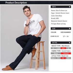 Image 4 - GRG Mens Slim Boot Cut Jeans Classic Stretch Denim Slightly Flare Dark Blue Pants Fashion Stretch Trousers