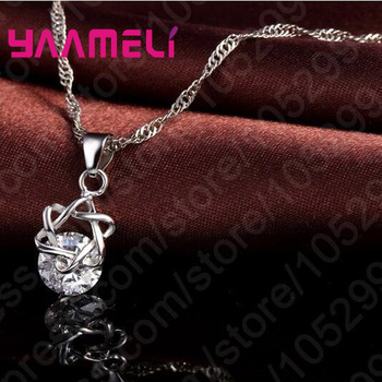 Big Discount Top Quality 925 Sterling Silver Shining CZ Fashionable Necklace Earrings Jewelry Sets For Women Wedding 3
