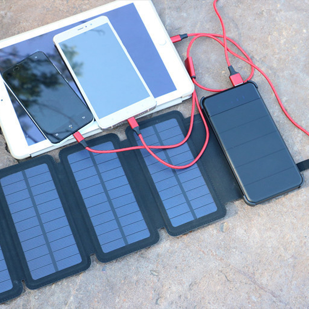 Solar Panel Charger Mobile Power 10000mAh Mobile Phone Battery Dual USB Port Outdoor Portable Folding Waterproof Power Supply image
