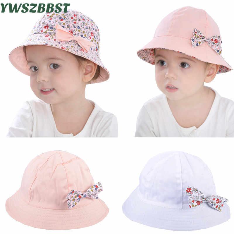 Beach Cap Summer Hats For Girls Children Bucket Hat Double Side Flower Sun Visor