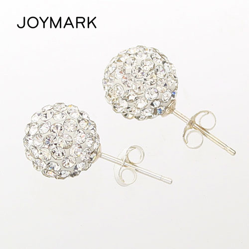 High Quality 10mm 8mm 6mm Clear Austrian Rhinestone Pave Shamballa Disco Ball Genuine 925 Sterling Silver Stud Earrings SSCE8mmA