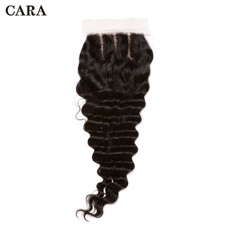 Silk Base Closure 4x4 Deep Wave Lace Closure Brazilian Virgin Human Hair Closure Pre Plucked Bleached Knots Free Part CARA