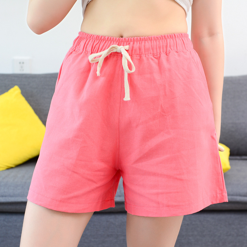 Pink Cotton Shorts High Waist Women Clothes 2019 Spring Summer En Sport Fem Me Sexy Plus Size Holiday Quick Drying Casual