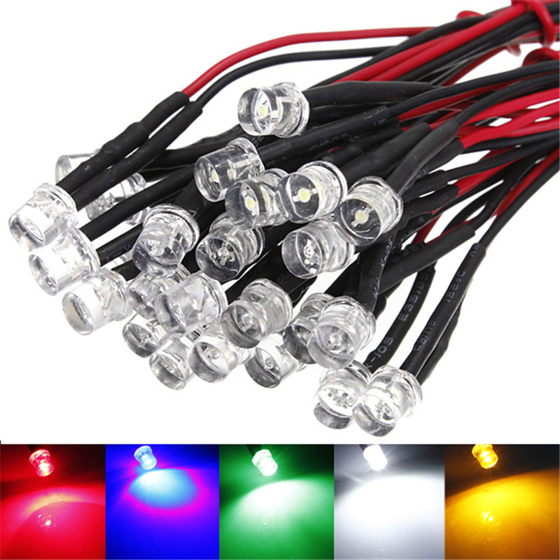 5pcs LED Light Bulb Super Bright Pre Wired Lamp Emitting Diode For DIY Lighting 20cm 5mm Red Blue Green White Yellow DC12V 20mA mebelvia flowers via gladiolus 120х190