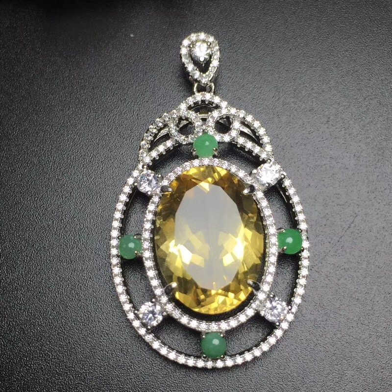 Fine Jewelry S925 solid sterling silver Natural Citrine Gemstone Female Pendant Necklace for women fine pendant necklaces