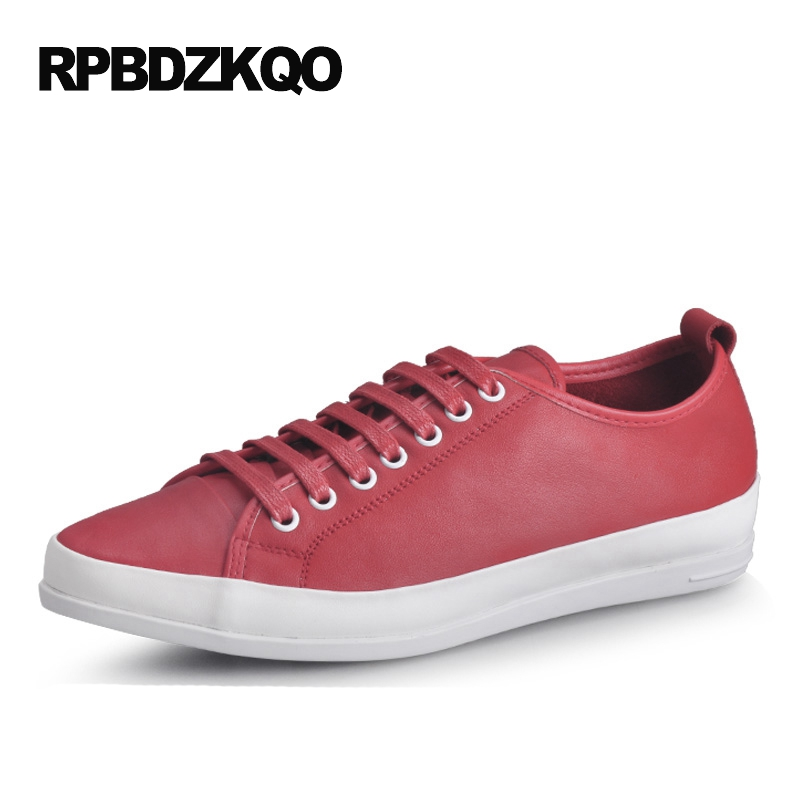 Comfort Spring And Autumn 2017 Genuine Leather Sneakers Red Yellow Breathable Real Casual Lace Up White Men Shoes Skate Black 2017 spring autumn breathable white wild men casual shoes 100% handmade pigskin leather comfort men shoes high quality size40 44