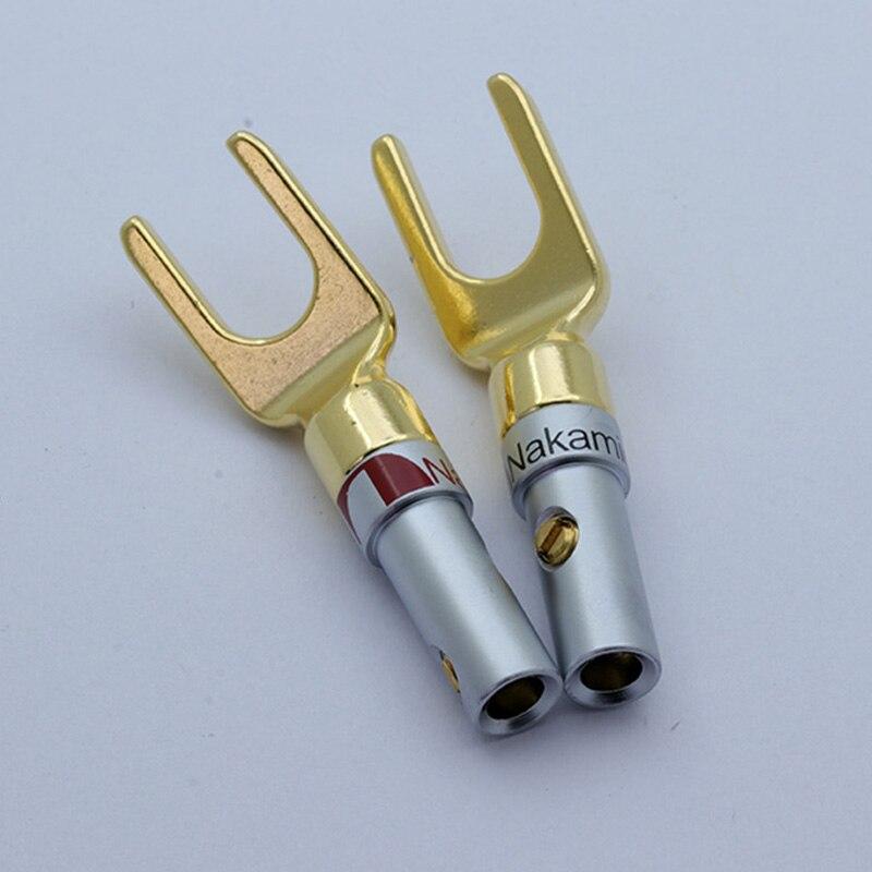 MPS 24K Gold Plated Brass Speaker Spade Y Fork Hifi AMP Banana Plug Connector *4