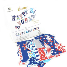 Happy Birthday Party Decorations Kids 1ps/set  Red Navy Blue Banner Sea Nautical Themed Supplies For Boy