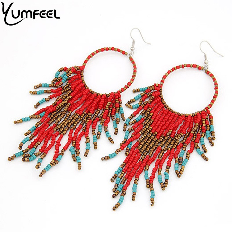 Yumfeel New Bohemian Style Colorful Earrings Handmade Beads Earrings for Women 6 Colors Available Colorful Beaded Jewelry
