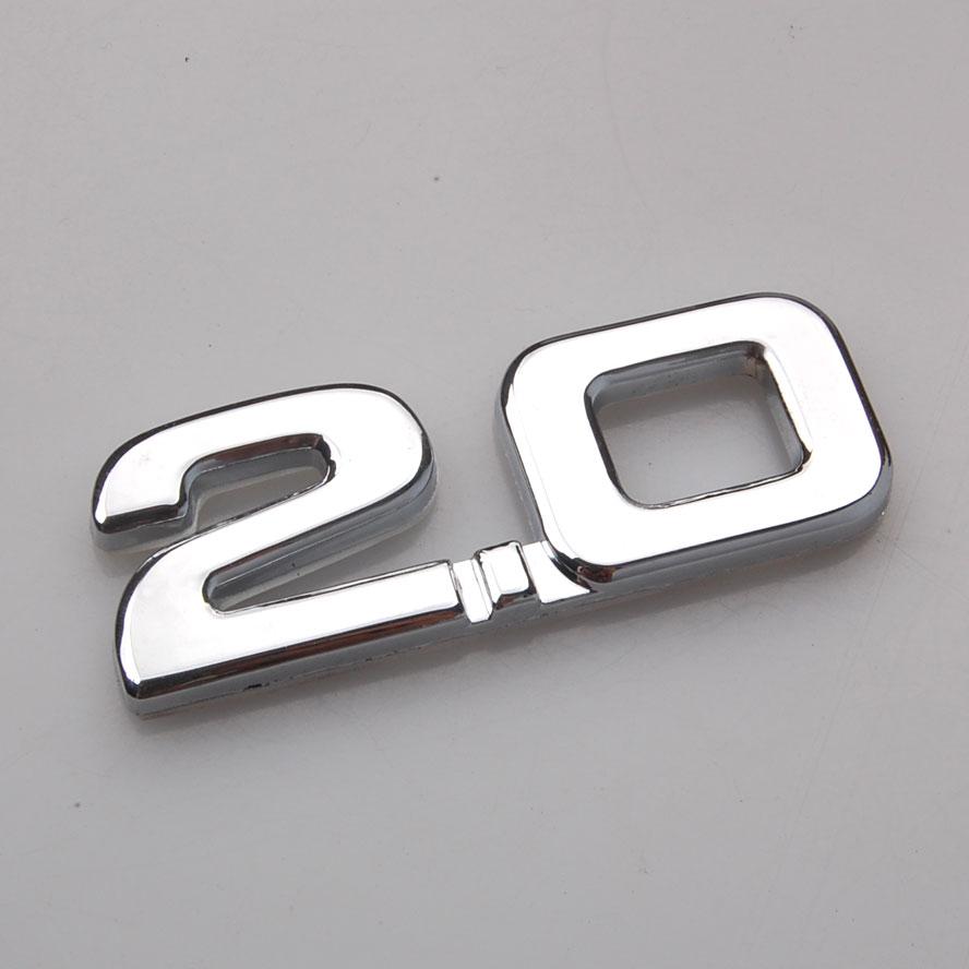 3D coche de Metal de plata de 2,0 de 2,0 T de 2.0TSI trasero calcomanía de tronco emblema insignia pegatina para escarabajo VW CC Eos Golf Jetta Nuevo Passat Tiguan
