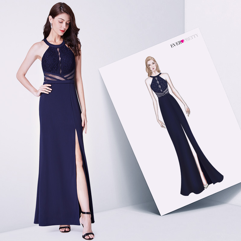 Navy Blue Evening   Prom     Dress   Ever Pretty EP07390NB Vestidos De Fiesta Elegant A Line Off Shoulder Cut-Out Formal Gowns With Slit