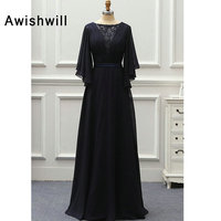 Navy Blue Long Mother of The Bride Dress for Wedding Party Elegant Formal Gown 3/4 Sleeve Beaded Chiffon Mother of Groom Dress