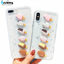 Ascromy para iPhone 7 Plus funda 3D Cute Conch Shell azúcar helado purpurina silicona TPU parachoques cubierta para iPhone X 10 8 6 s 6 Plus(China)