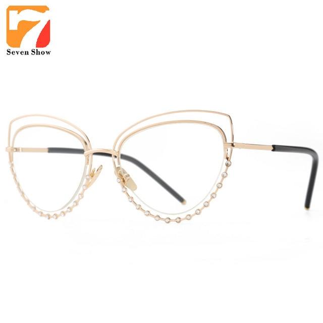 269326ccada Luxe célébrité Vintage rond strass chat yeux lunettes de soleil femmes 2017  marque Designer nuances lunettes