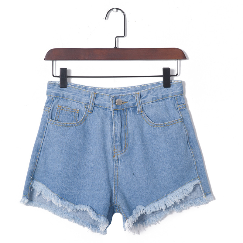 2017 summer new simple retro Loose A word fashion casual Short jeans burr high waist denim shorts female women shorts
