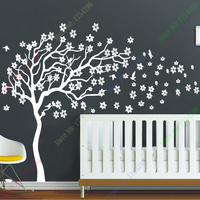 New Arrival Huge White Tree Flowers Wall Decal Nursery Tree and Birds Wall Art Baby Kids Room Wall Sticker Nature Wall Decor