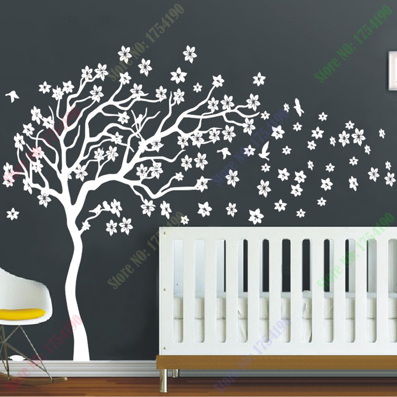 Muursticker Witte Boom.Us 42 99 Nieuwe Collectie Enorme Witte Boom Bloemen Muurtattoo Nursery Boom En Vogels Muur Art Baby Kinderkamer Muursticker Natuur Muur Decor In