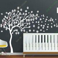 Nouvelle Arrivée Énorme Blanc Arbre Fleurs Sticker Nursery Arbre et oiseaux Mur Art Bébé Enfants Chambre Wall Sticker Nature Mur Décor