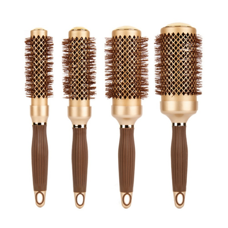 Professional Hair Dressing Brushes High Temperature Resistant Ceramic Iron Round Comb Makeup Tools