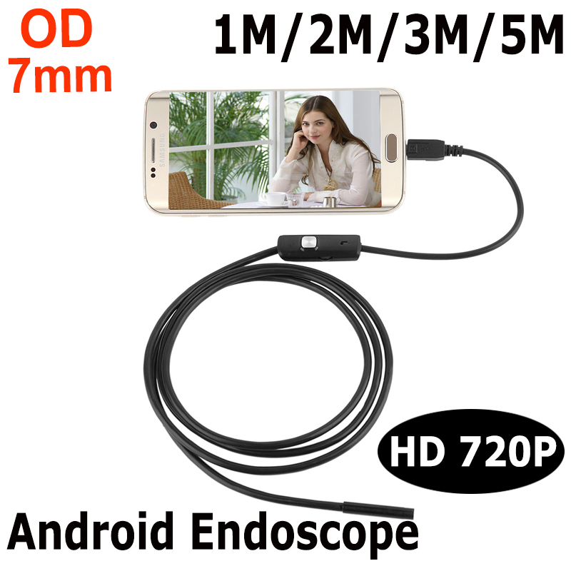 Endoskop 7mm 1M 2M 3M 5M USB Android Endoscope Camera Inspection Phone Camera IP67 OTG USB Endoscoop Camera Borescope Endoscopio eyoyo nts200 endoscope inspection camera with 3 5 inch lcd monitor 8 2mm diameter 2 meters tube borescope zoom rotate flip