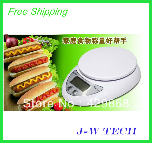 Free shipiing digital kitchen scale 5000g/1g household scale food diet postal scale 1 pcs with retail box
