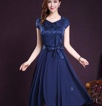 2017  New Summer Women Dress Elegant Short Silk Slim Swing Pleated Mid-calf V-neck Natural Plus Size Short Sleeve Long Dress