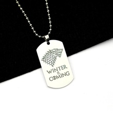 House Stark Wolf Logo Metal Tag with Chain