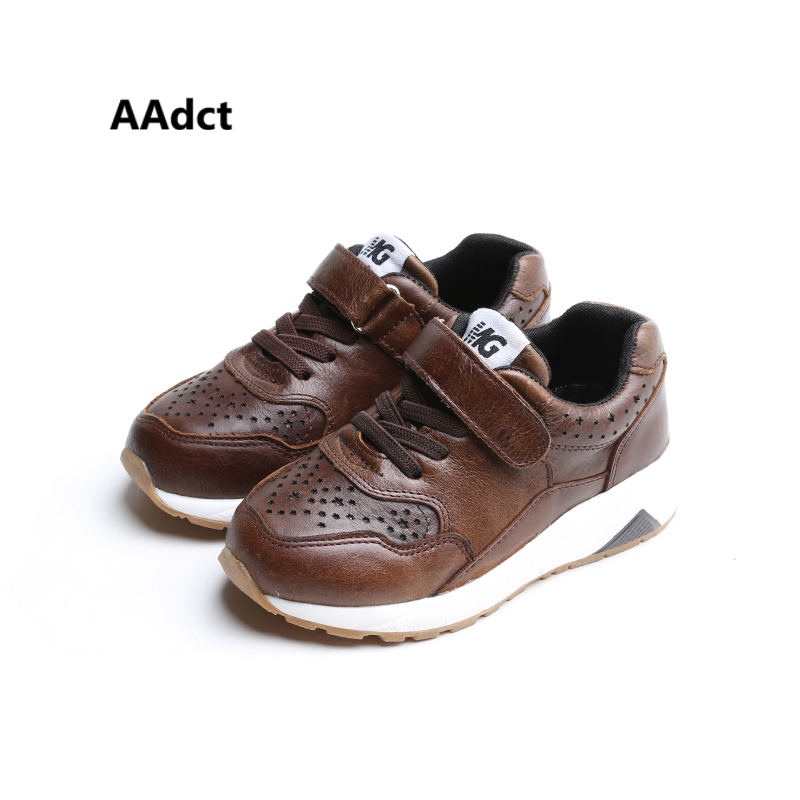 AAdct 2017 Fashion kids shoes Brand High quality boys shoes Real leather Autumn Running sports girls