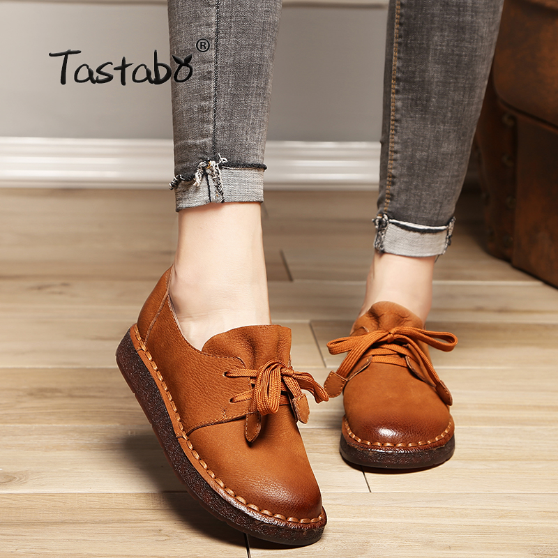 Tastabo 2018 Lace-up Loafers Casual Flat Shoe Pregnant Women Shoe Mother Driving Shoe Female Women Flats Hand-Sewing Shoes цена