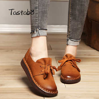 Tastabo 2018 Lace-up Loafers Casual Flat Shoe Pregnant Women Shoe Mother Driving Shoe Female Women Flats Hand-Sewing Shoes - DISCOUNT ITEM  48% OFF All Category