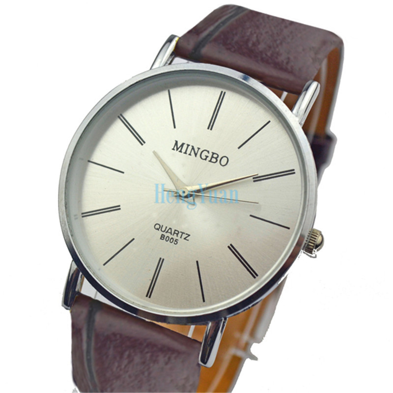2be5abeac2f Simple Design Women Dress Watches Men Quartz Watch Brown Leather Strap  Watches Mingbo Relogio Masculino Feminino Couple Watch-in Lover s Watches  from ...