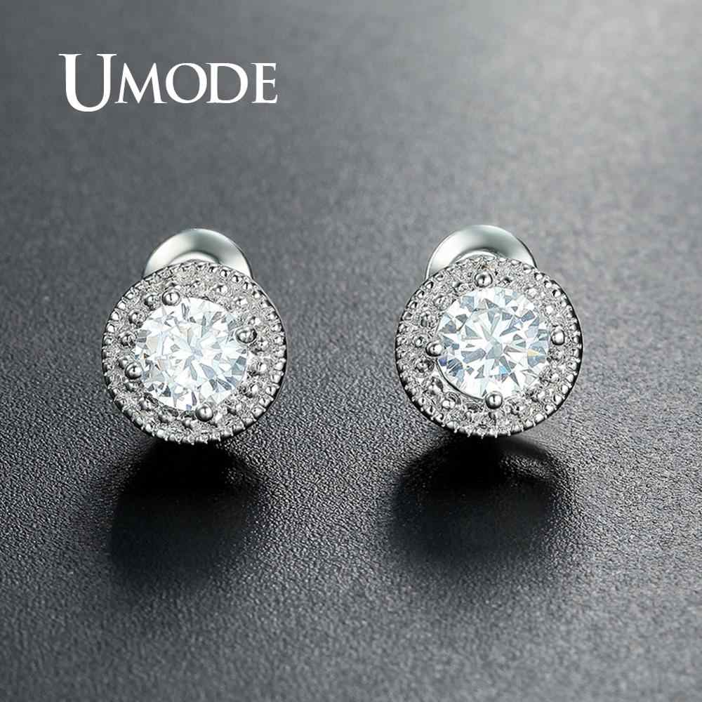 UMODE White Gold Round 0.5ct Stud Earrings for Women Girls Simple Cubic Zirconia Earrings Fashion Jewelry Accessories UE0259