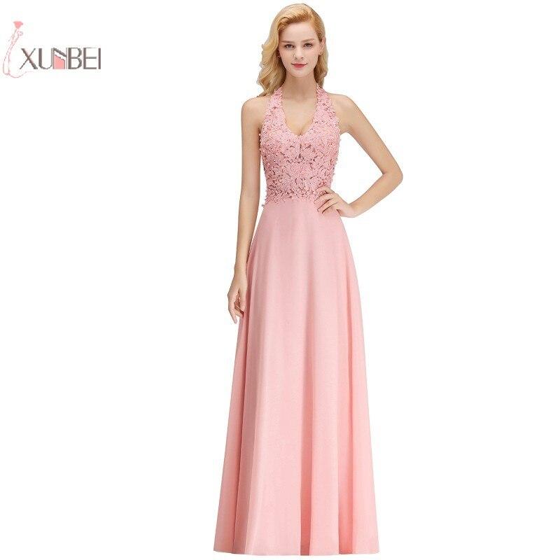 2019 Luxury Pink Silver Chiffon Long Prom Dresses Applique Pearl Party Gown vestido de Gala