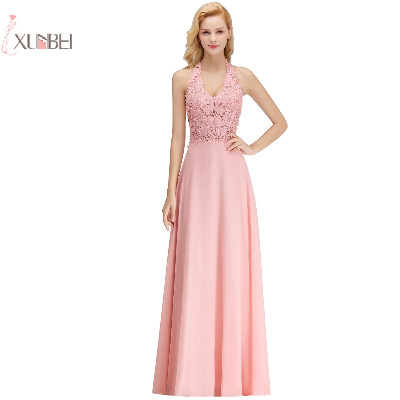 2019 Luxury Pink Silver Chiffon Long   Prom     Dresses   Applique Pearl   Prom   Gown Gala   Dress   vestido de festa 1083