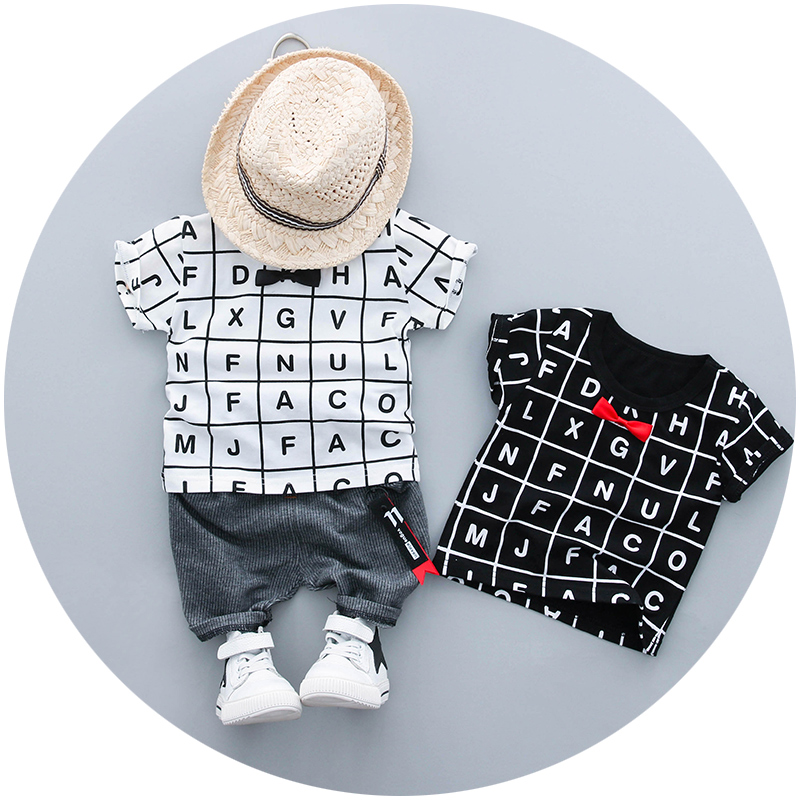 Baby Boy Clothes Set 1-3y Summer New Fashion Style Cotton O-Neck Letter Print High Quality 18018 Children Boys Clothing Suit