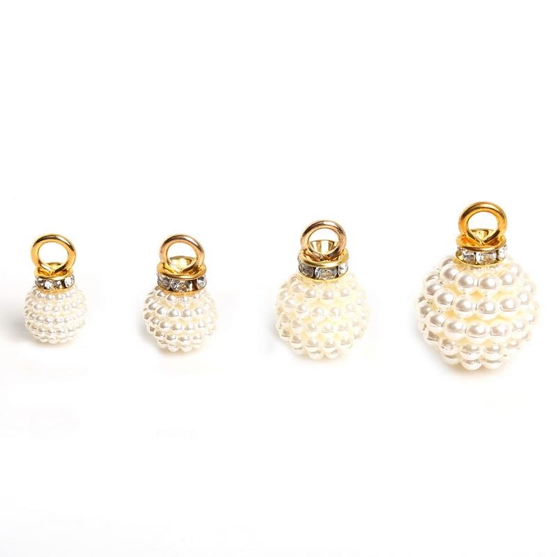 10pcs Gold ABS Imitation Pearl Pendant Rhinestones Earring Making Findings NEW