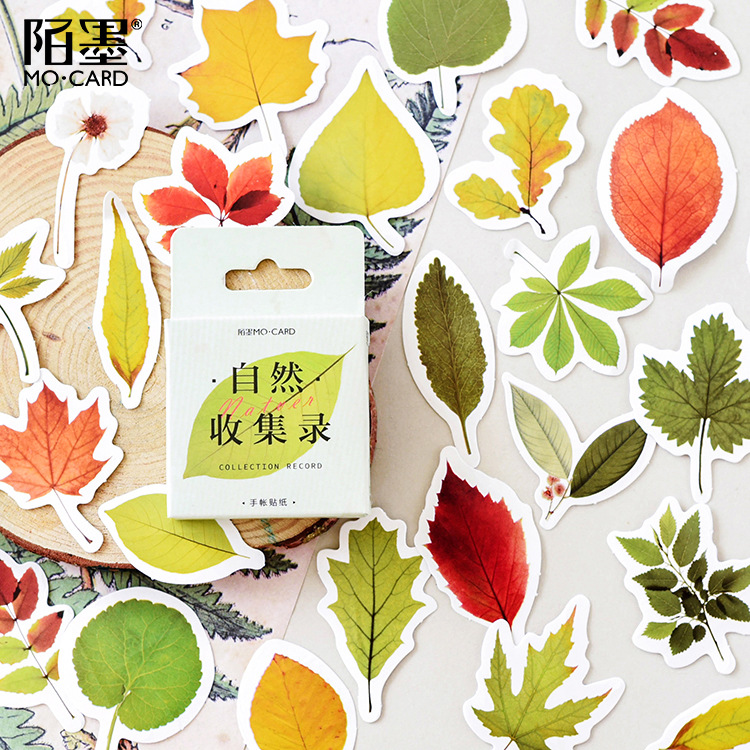 45pcs/pack Fresh Maple Leaves Paper Adhesive Stickers Decorative Album Diary Stick Label Paper Stationery Office Supplies