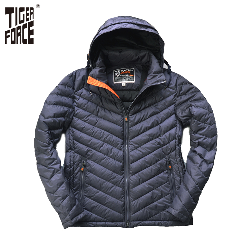TIGER FORCE 2017 New Collection Men s Casual Padded Jacket Hooded Thin Cotton Padding Coat Detachable