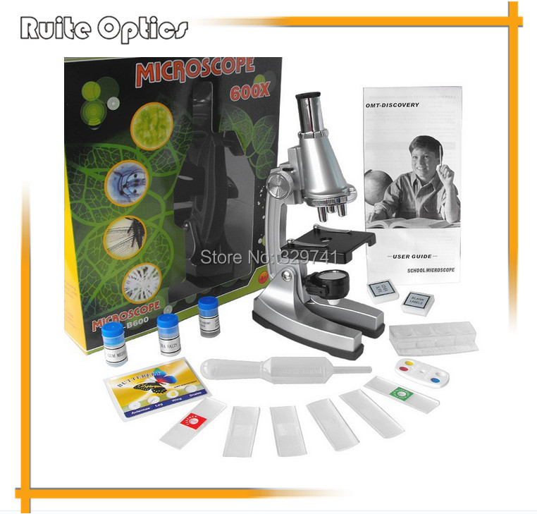 ФОТО Birthday Gift 100x, 300x, 600x Illuminated Monocular Student Toy Microscope with Refecting Mirror and Lamp