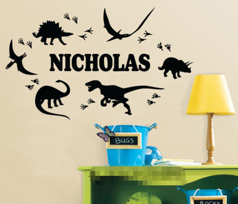 Dinosaur footprint custom personalized name wall sticker boy decal nursery decor wall stickers for kids room