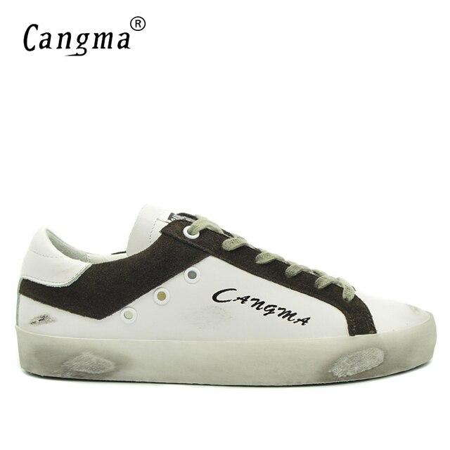 Cangmaメンズトレーナーブランドスニーカー本革カジュアルシューズスエード白韓国スタイル男の靴