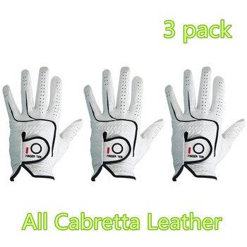 Men Golf Gloves All Cabretta Leather Grip Value 3 Pack Lh Rh Comfortable Durable Fit Small Medium ML Large XL XXL 2XL Finger Ten