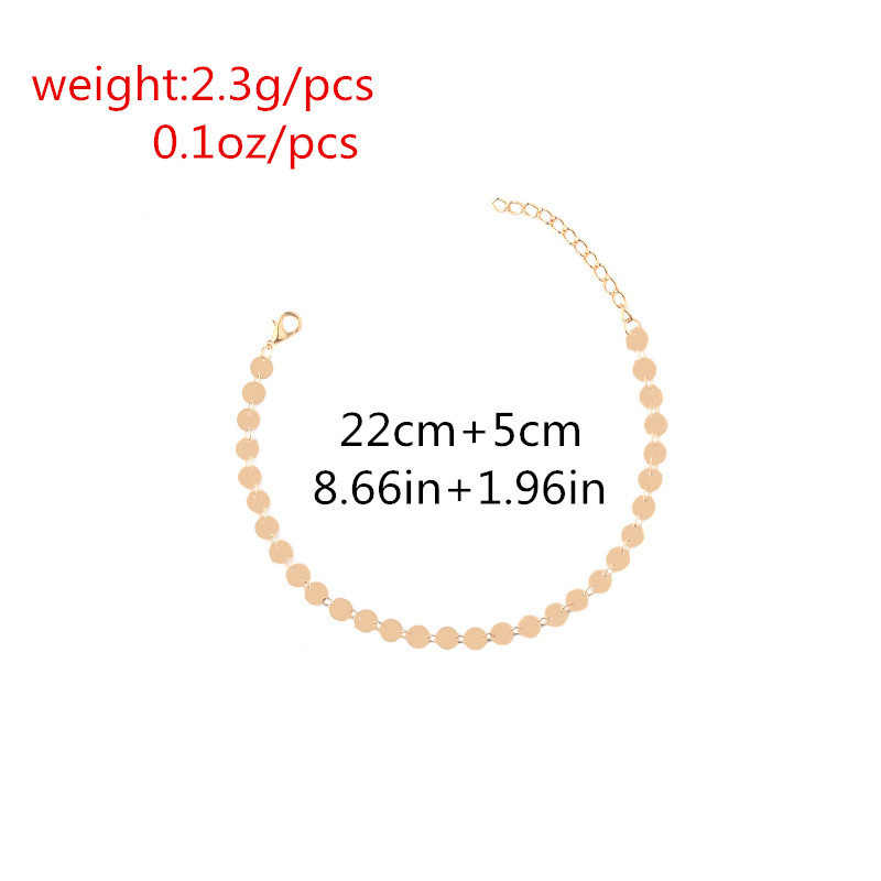 מינימליסטי מתכת נצנצים Anklets לנשים אלגנטי פשוט פאנק זהב צבע מטבעות עגול שרשרת קרסול צמיד רגל תכשיטים
