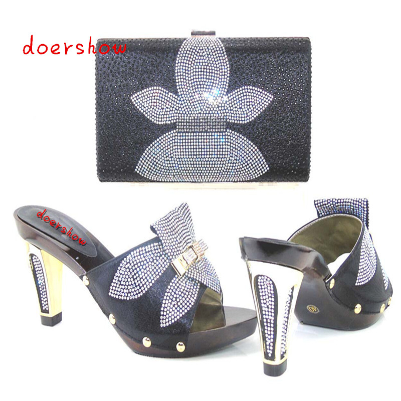 doershow 2017 New Coming Italian Fashion black ab sandals African shoes and bags to match shoes with bag set!HJJ1-5 2017 new coming italian fashion black ab