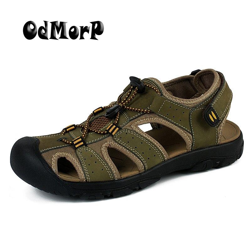 ODMORP Hommes Sandales En Cuir Véritable D'été Chaussures Hommes Pantoufles Qualité Casual Plage Chaussures Antidérapant Sandalias Grande Taille 47 Sandale