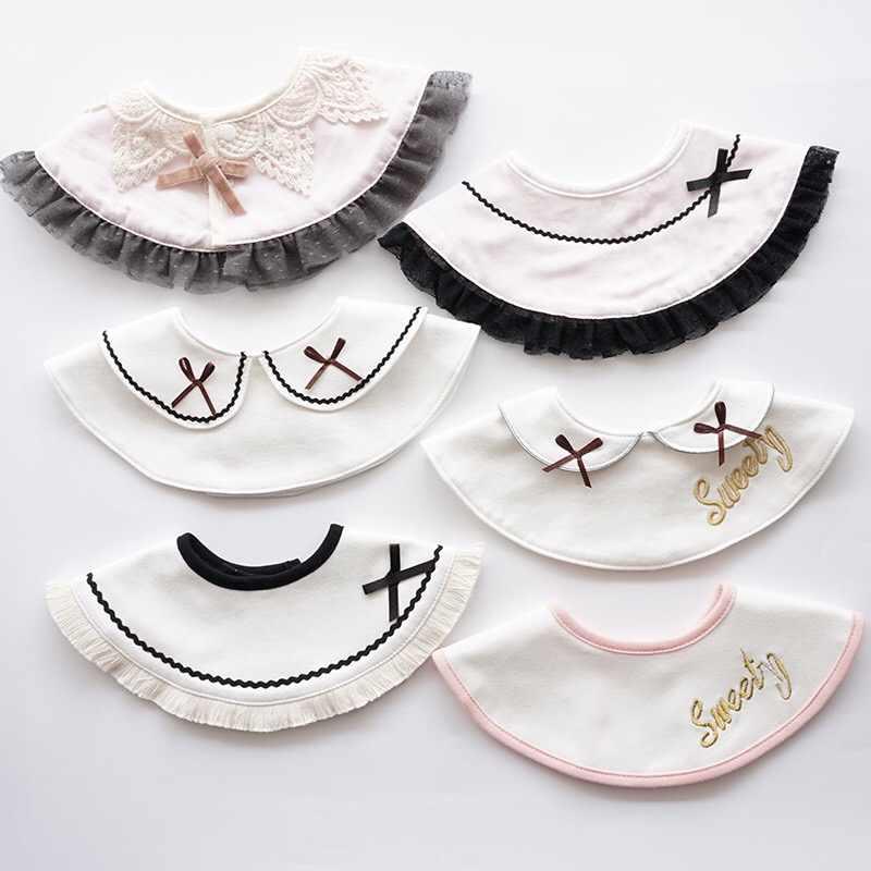 Estilo japonês 360 babadores toalha saliva bib bonito senhoras borlas bib à prova de vento pequeno fresco falso colar rotatable nome customizável